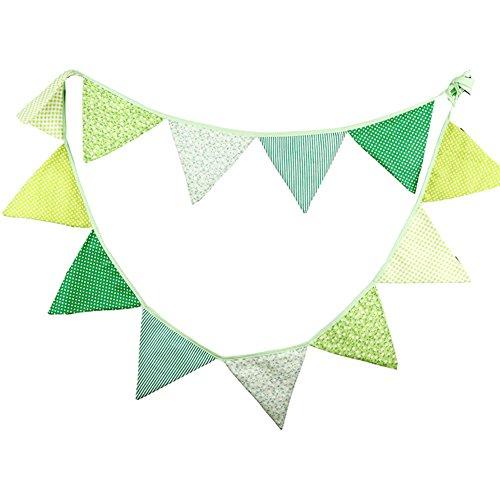 Vikenner Wimpelkette mit set, Grün gelb weiß Wimpel mit, Dreieck Flaggen, Baumwolltuch Stoff Bunting Banner für Geburtstag, Hochzeit, Outdoor, Indoor Aktivität, Garten, Party Dekoration Bunting