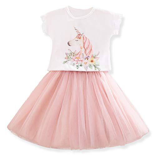 TTYAOVO Bambino Unicorno Vestito Casual Ragazzine Unicorno Attrezzatura Pattern Stampato T-Shirt + Tutu Gonna Taglia 3-4 Anni Rosa