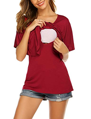 Stilltop Umstandsmode Stillshirt Damen Schwanger Bluse Maternity Shirt Stillpyjama Stillnachthemd -S
