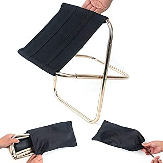 ABEDOE Mini Folding Camp Stool, Lightweight Folding Chair Portable Outdoor Folding Camping Chair for BBQ Travel (Black * 1pc)