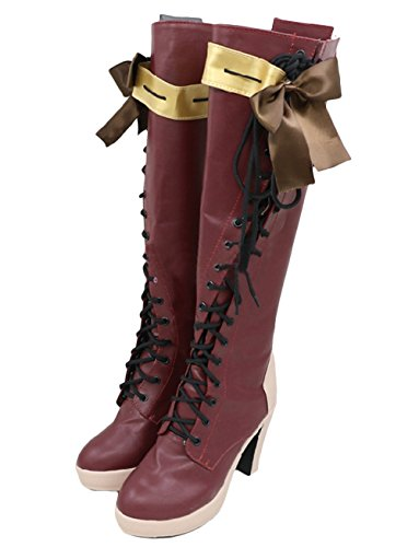 Damen Rot Stiefel & Stiefeletten Lady Block High Heel Anime Schuhe Cosplay Kostüm Halloween Kostüm Merchandise Zubehör Größe: 38