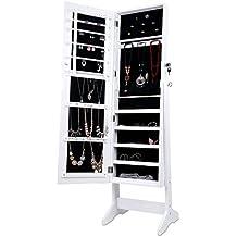 LANGRIA Armoire à Bijoux avec Miroir à pied, 4 réglable Angles penchés , un Stockage Spacieux pour les Anneaux, Boucles d'oreilles, Bracelets, Broches