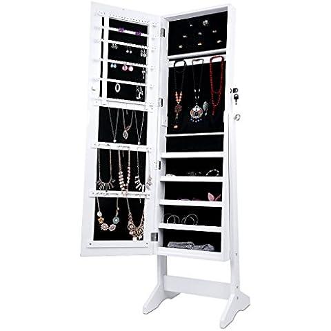 langria armario joyero de pie con espejo para joyas lacado blanco y terciopelo negro interior