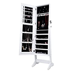 Idea Regalo - LANGRIA Armadio Specchio Portagioie Gioielli a Chiave Stand Bloccabile con Specchio Armoire Organizer Bianco