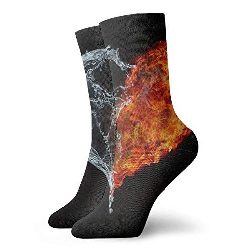 REordernow Calcetines deportivos para hombre Crew Socks Water and Fire Customized Womens Dress Stocking Gift Sock Clearance for Boys