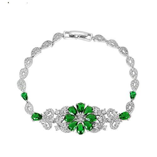 amdxd-jewelry-gold-plated-women-charm-bangle-bracelet-green-flower-zirconia-water-drop-19cm