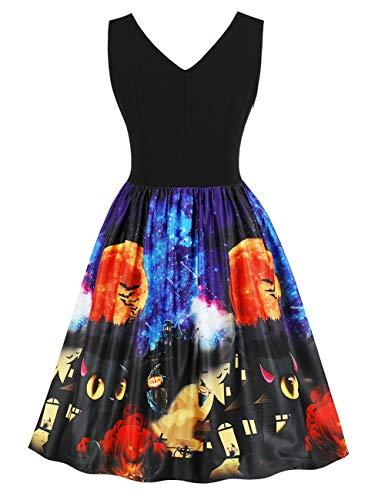 FeelinGirl Halloween Damen Kleider Retro A-Linie Ohne Arm Kürbis Swing Abendmode Kleider für Party Cocktail und ()