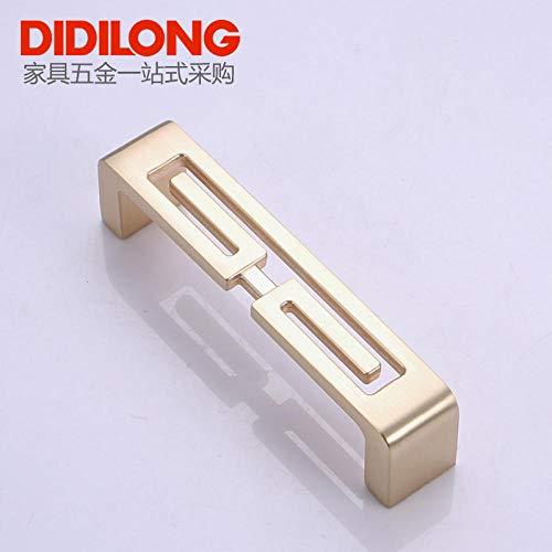 ZTZT Möbelbeschläge Handle_Simple Golden Modern Garderobenschrank Schuhschrank Möbelbeschläge Griff Lochabstand 96mm