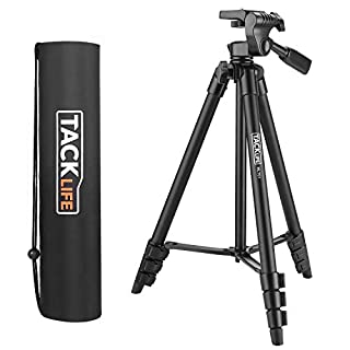 Tacklife MLT01 Camera Tripod 136 cm Aluminium Cross Line Laser Tripod Flexible Small Lightweight Tripod with 3-Way Swivel Head Quick Release Plate incl. with pocket.