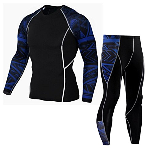 Yoga Hosen Herren, Sannysis Mann Yoga Herren Bekleidung Workout Leggings Fitness Sport Fitnessstudio Laufende Yoga Athletic Pants + Shirt Anzug (Blau, L) (Workout Shirt Athletic)