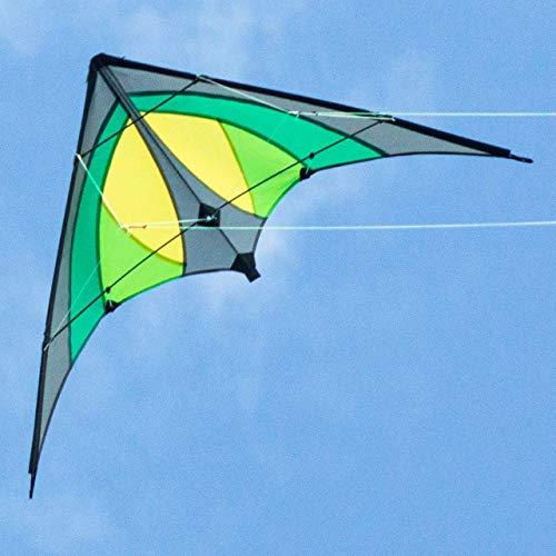 CIM Lenkdrachen - Shuriken MUSTHAVE Green Jungle - Drachen für Kinder ab 8 Jahren - 120x60cm - inklusiv Steuerleinen auf Rollen - Einsteiger Lenkdrachen