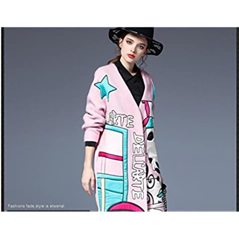 ZH AH Ladies trench coat in lana lungo cappotto ricamato , pink , xl