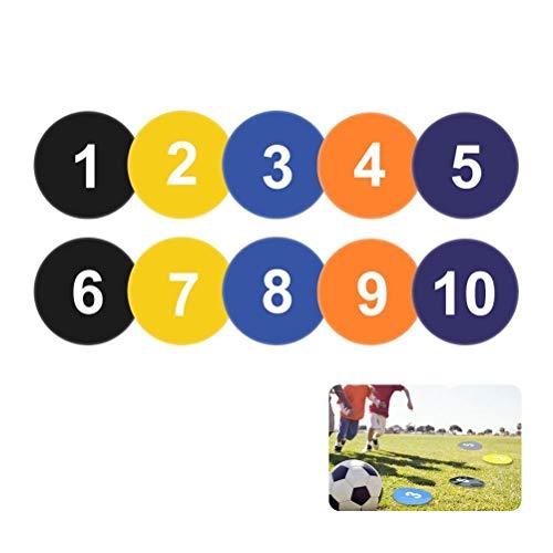 Flache Marker, für Basketball-Übungen und Training, für Beweglichkeitstraining, Mehrfarbig, Pack of 10, 1-10 Numbers