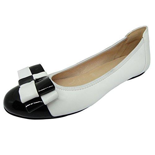 schuhe damen ballerinas Weiß schwarz Leder 38 0392-2 (Zara Baby Mädchen Boots)
