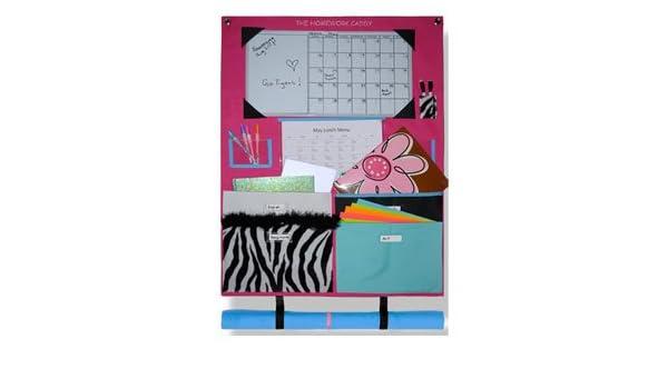 fuchsia and zebra homework caddy
