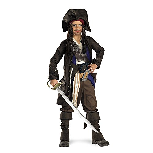 Kinder Captain Jack Für Kostüm Sparrow (Disguise 145387 Fluch der Karibik-Captain Jack Sparrow Prestige Kinderkost-m Gr--e: Small)