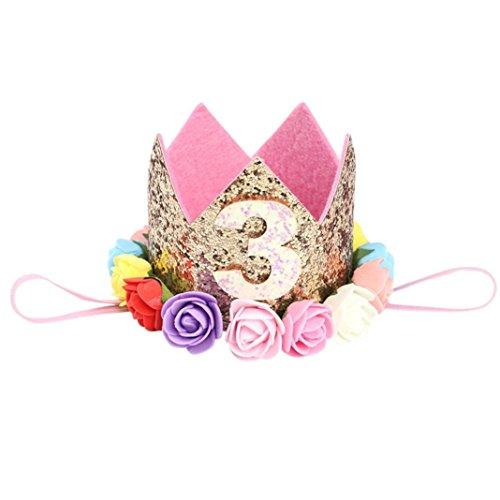 �nder Mädchen Pailletten Kopf Zubehör Stirnband Baby Rose Elastic Geburtstag Anzahl Krone Headwear (B3) ()