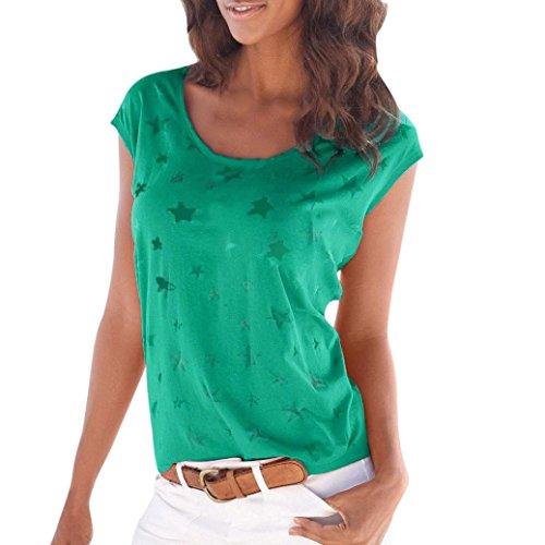 TITIU Mode Frauen Sommer Lose Kurzarm Star Printed Casual T-Shirt Bluse Tops (L, Grün) (V-neck Printed Top)