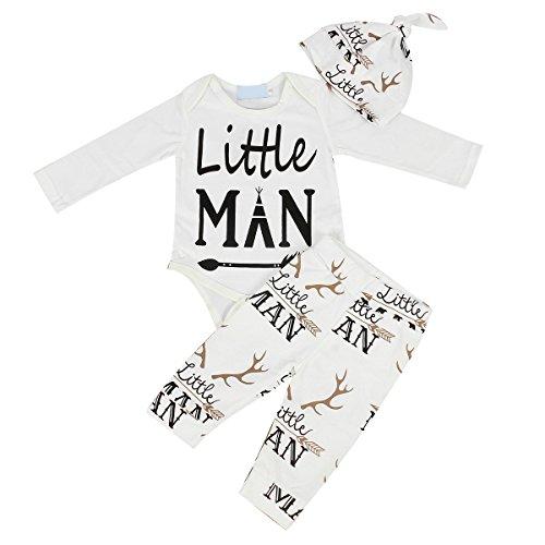 Neugeborene Baby Kleidung Little Man Langarm Spielanzug Strampler Hose mit Hut Outfit Set (12-18 Monate, (Armee Outfit Mens)