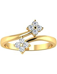 18K Gold Rings 0.17 Carat Round Real Solitaire Diamond Rings Indian Jewelry For Women (19)