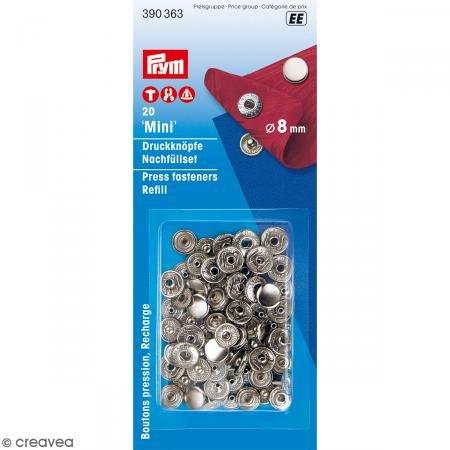 PRYM 390363 Nachfüllpack Nähfrei-Druckknöpfe Mini 8mm silberfarbig für Artikel 390360, 20 Stück