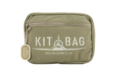 Airborne Green Canvas Kit Bag/Travel Wallet