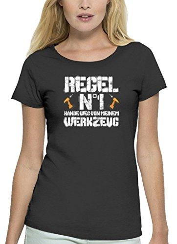 Handwerker Premium Damen T-Shirt aus Bio Baumwolle Hände weg von meinem Werkzeug Stanley Stella Anthrazite