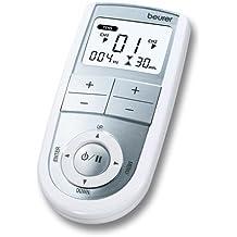 Beurer EM-41 - Electro estimulador digital, 2 canales, EMS/TENS/Masaje, color blanco y plata