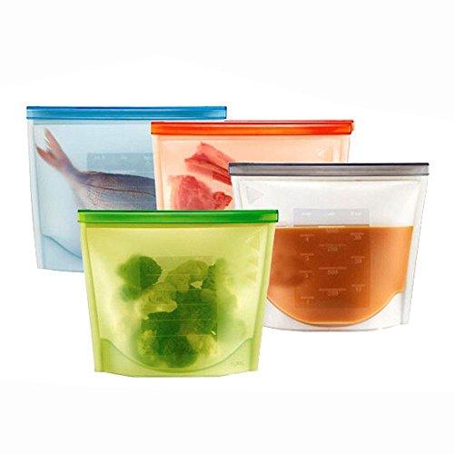 OFKPO 4pcs Silicona Reutilizable Alimentos Bolsa Almacenamiento