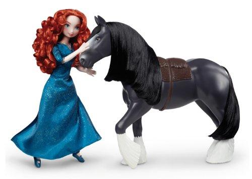 Mattel Disney Princess V1815 - Merida und ihr Pferd Angus im Geschenkset, Puppe und Zubehr
