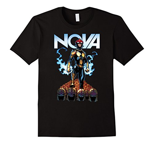 Men's Marvel Nova Guardians of the Galaxy Helmet Graphic T-Shirt Medium Black
