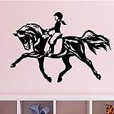 woyaofal Enfants Mur de Vinyle Applique Murale Équitation pour Filles Chambre De Mode Décoratif Stickers Muraux 82x57cm