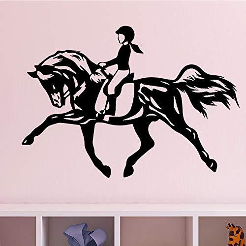 nkfrjz Vinyl Wandtattoo Reiten Pferd für mädchen Schlafzimmer wanddekoration Wand-dekor Aufkleber Selbstklebende tapete Aushöhlen Für Haus violett 43 cm X 67 cm