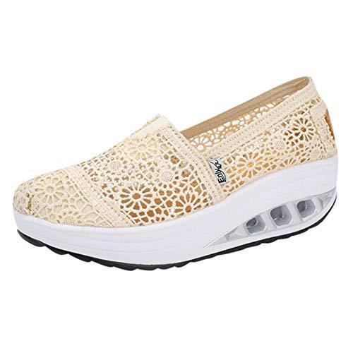 Overdose-Chaussures Platform Trainers Femme Tennis à Enfiler Pas Cher Baskets à Talons Plates Soldes Été Automne Comfort Sneakers (37 EU, Style B:Beige)