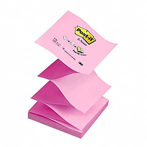 Post-It Z-Notes 76x76mm - 100 feuillles - coloris rose alterné - Lot de 12