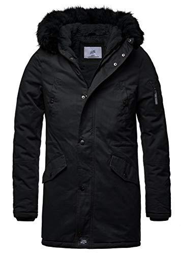Sixth June Herren Parka Winter Jacke Fell Kapuze Lang Zipper schwarz grün M2000 M3310, Größe:M, Farbe:Black/Black