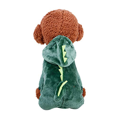 RUNFON 1Set Pet Coat Kostüm Cute Hund Pyjama Kleidung Coral Fleece Pet Outfit Dog Supplies Herbst und Winter Welpe Hoodie Größe M (Dinosaurier)