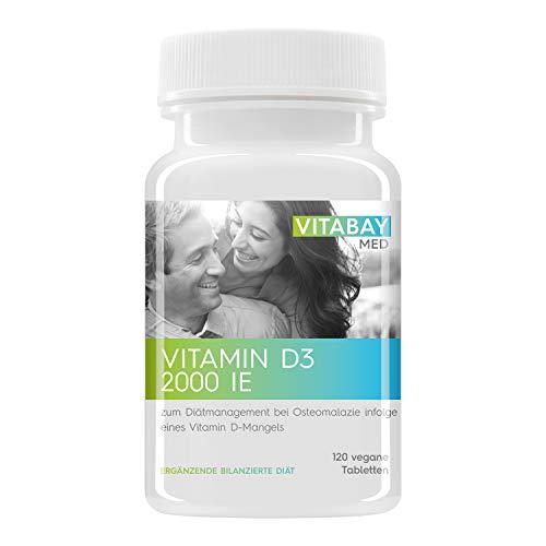 Vitamin D3 Vitabay 2000 I.E. - zum Diätmanagement bei Osteomalazie - 120 Vegane Tabletten