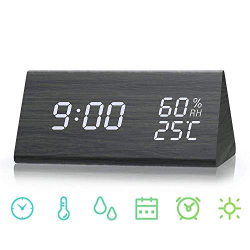 SHENGMI Reloj de Alarma Digital, Modo de Tiempo Dual (12/24), Tres Conjuntos de alarmas, Pantalla LED de Fecha, Brillo de 3 Niveles, Temperatura y Humedad Reloj de Grano de Madera para Habitaciones