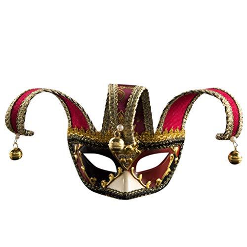 Kostüm Impuls - Lazzboy Unisex Maskerade Masken Halbes Gesicht Halloween Kostüm Party Augenmaske Handgefertigte Venezianische Maske Damen Und Herren(Rot)