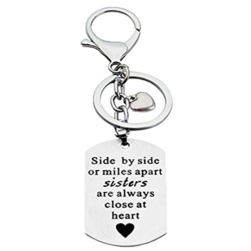 Price comparison product image Lalang Side by Side Stainless Steel Keyring Best Friends Sister Keychain Charm