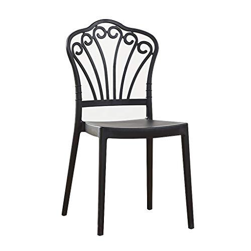LXQGR Plastikgartenstühle, Plastikgartenstuhl mit niedriger Rückenlehne Stapelbarer Patio Outdoor Party Sitz Stühle Picknick, PP-Ergonomische Rückenlehne-Modern Einfacher Stil (Color : Black)