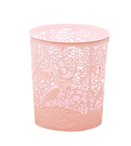 Dosige 1pcs Papierkorb, Kunststoff PP Papierkorb Büro Mülleimer Abfalleimer Trash Bin Papierkorb ohne Deckel (Rosa)