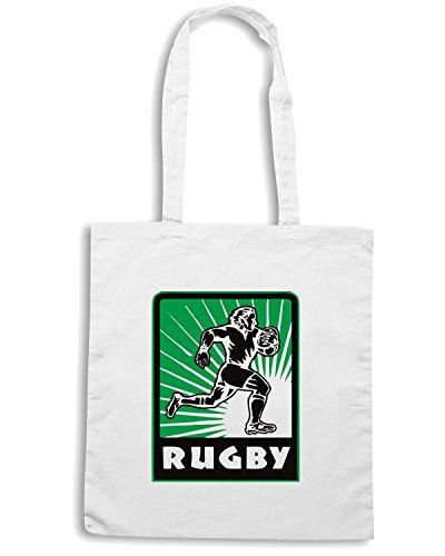 T-Shirtshock - Borsa Shopping TRUG0058 rugby player running logo Bianco