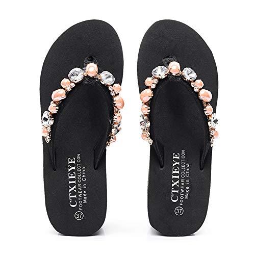 Pink Kork Keil (Frauen Keil Flip Flops Mode Strass Komfort Open Toe Stil Tanga rutschfeste Sandalen Hausschuhe Strand Schuhe,Pink,37)