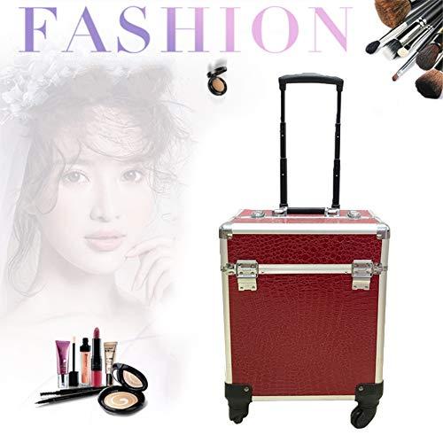 Mhxzkhl Mallette à Maquillage Verrouillée Vanity Case Valise à Cosmétiques Trolley à Bijoux Outil Poignée Télescopique,avec 4 roulettes - 34 x 24 x 45cm,1