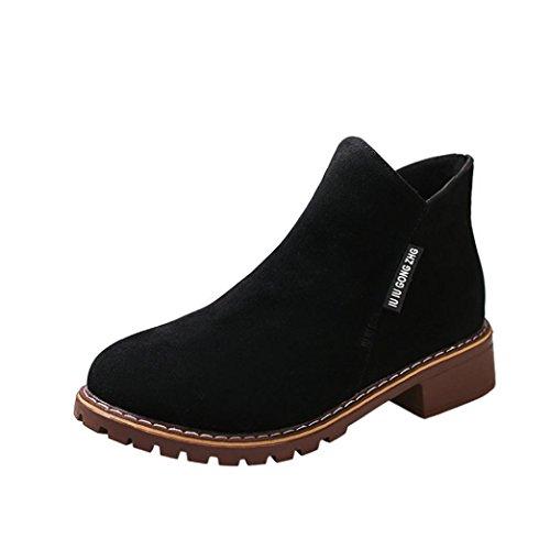 Stivali da donna invernali martin,zycshang scarpe donna eleganti con tacco mocassini casual mid polpaccio stivali scarpe tacco alto (39, nero)
