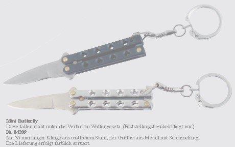 Mini - Butterfly Messer, schwarz oder silber. Erlaubt nach Waffengesetz.