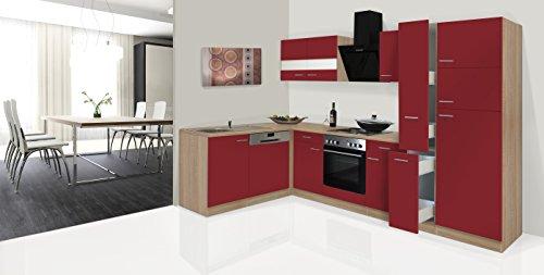 respekta Economy L-Form Winkel Küche Küchenzeile Eiche Sägerau Rot 310x172cm inkl. Designer-Dunstabzugshaube -