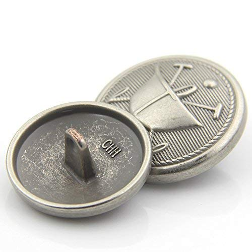 Geprägt Blazer (Lvcky Vintage matt Silber geprägte Dekorative Metallknöpfe für Overcoat Blazer Anzug 10 Stück)